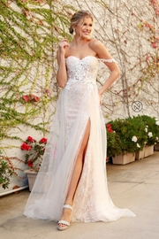 NOX A N A B E L White & Champagne Floral Embroidered Bridal Gown - Product Mini Image