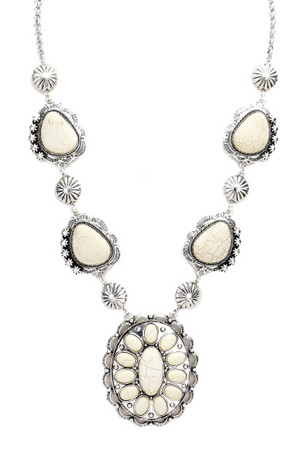 Wild Lilies Jewelry  White Concho Necklace - Front Full Image