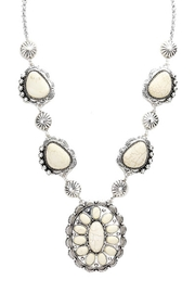 Wild Lilies Jewelry  White Concho Necklace - Front full body