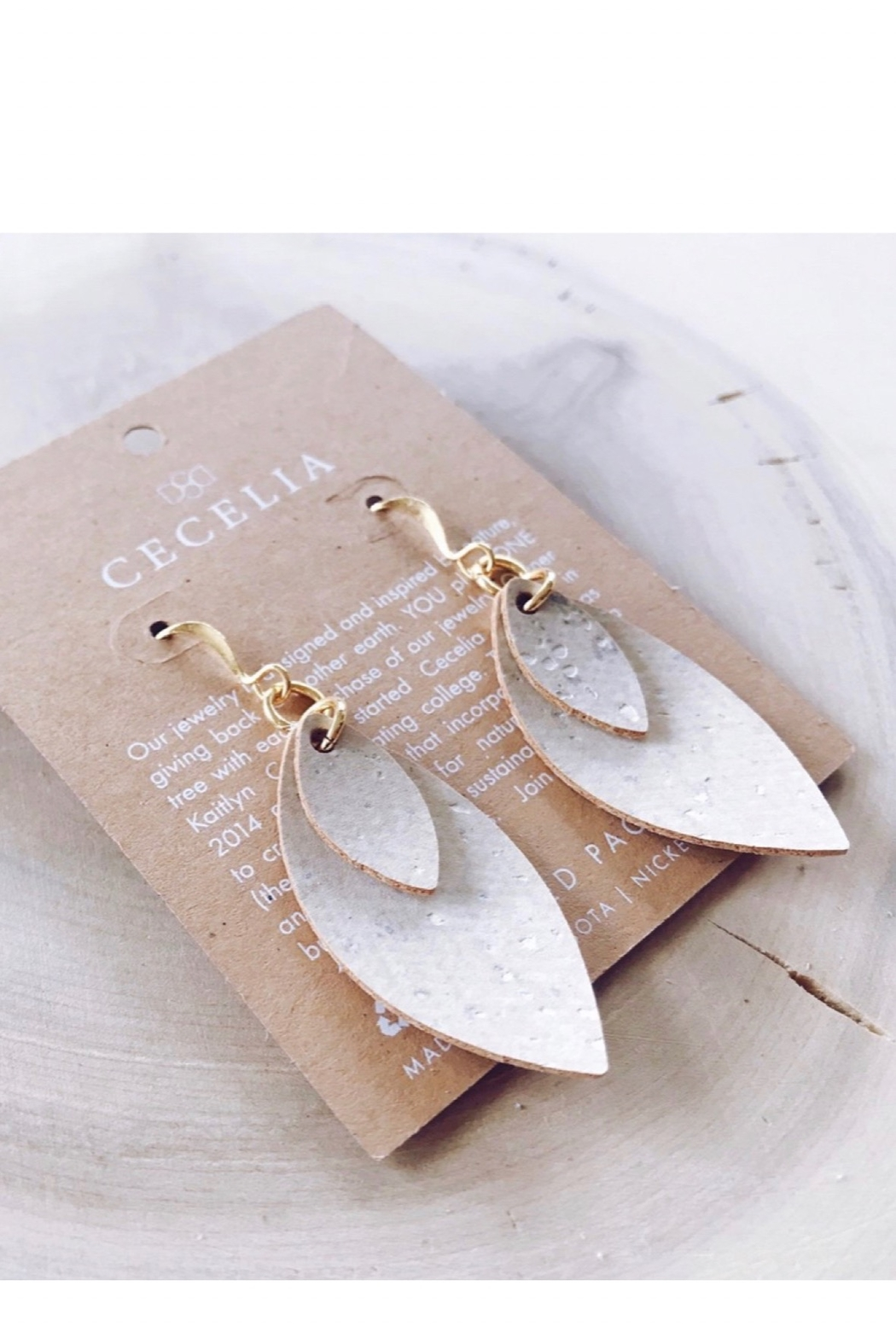 Cecelia Designs Jewelry White Cork Double Feather Earrings - Main Image