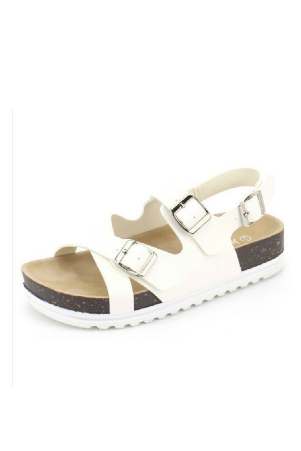 Let's See Style White Cork Sandal - Main Image