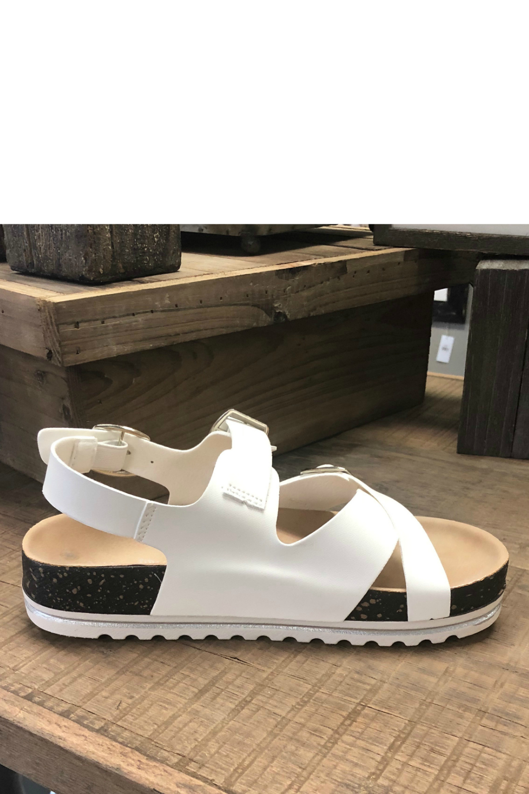 Let's See Style White Cork Sandal - Back Cropped Image