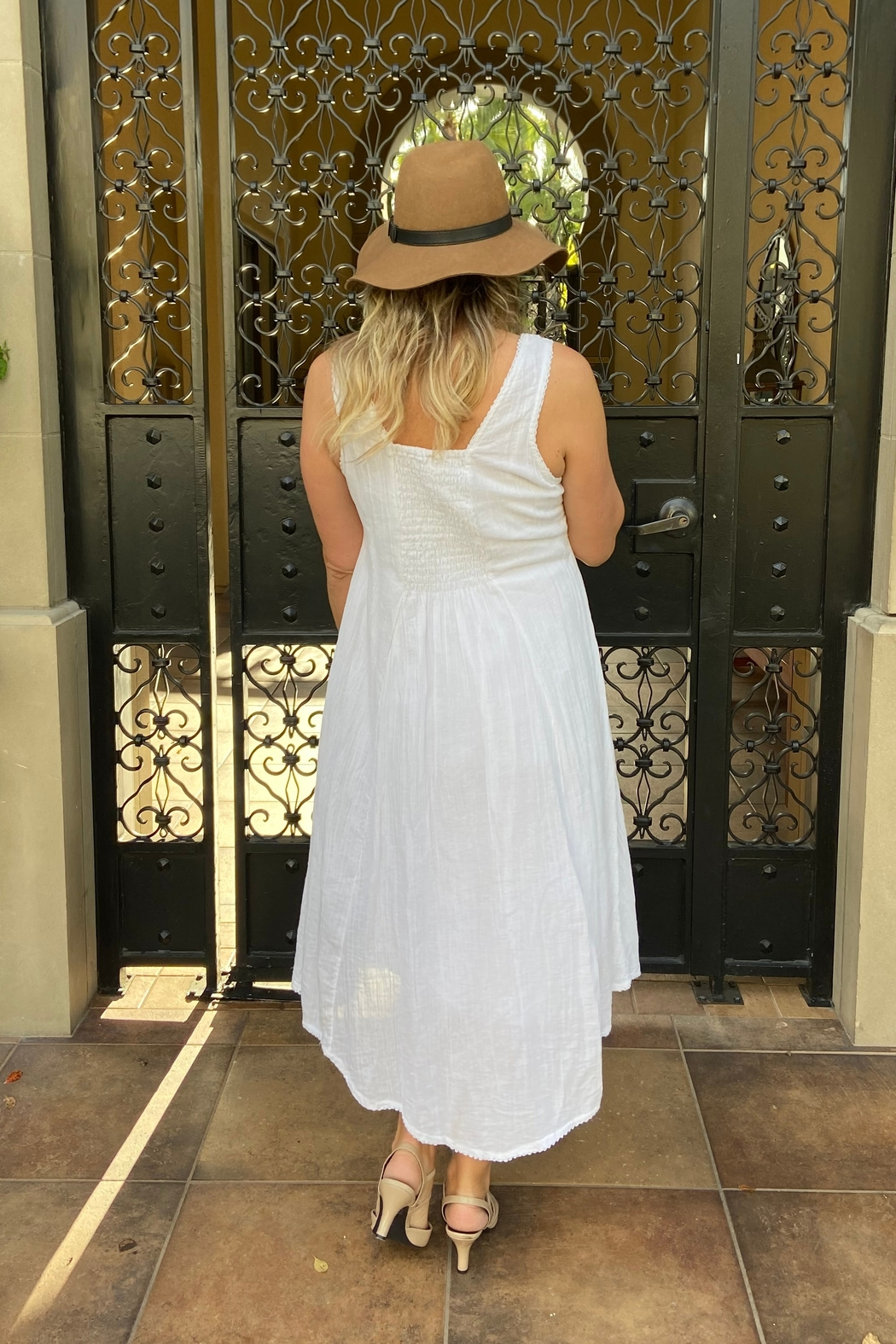 I Boutique  White Cotton Midi Dress - Side Cropped Image