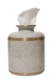 The Birds Nest WHITE CRACKLE ROUND TISSUE BOX - Front cropped