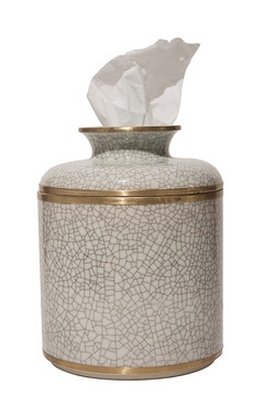 The Birds Nest WHITE CRACKLE ROUND TISSUE BOX - Alternate List Image