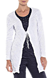 Alison Sheri White Crinkle Tie Front Cardigan - Front cropped