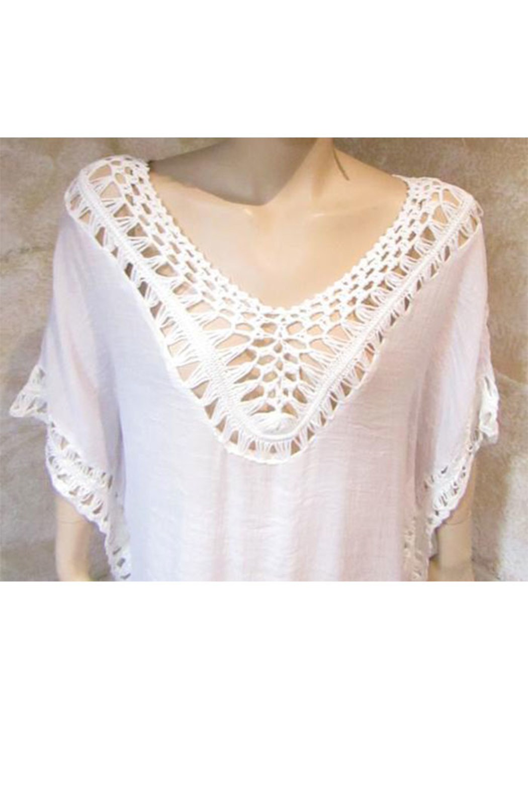 India Boutique White Crochet Trimmed Poncho - Front Full Image