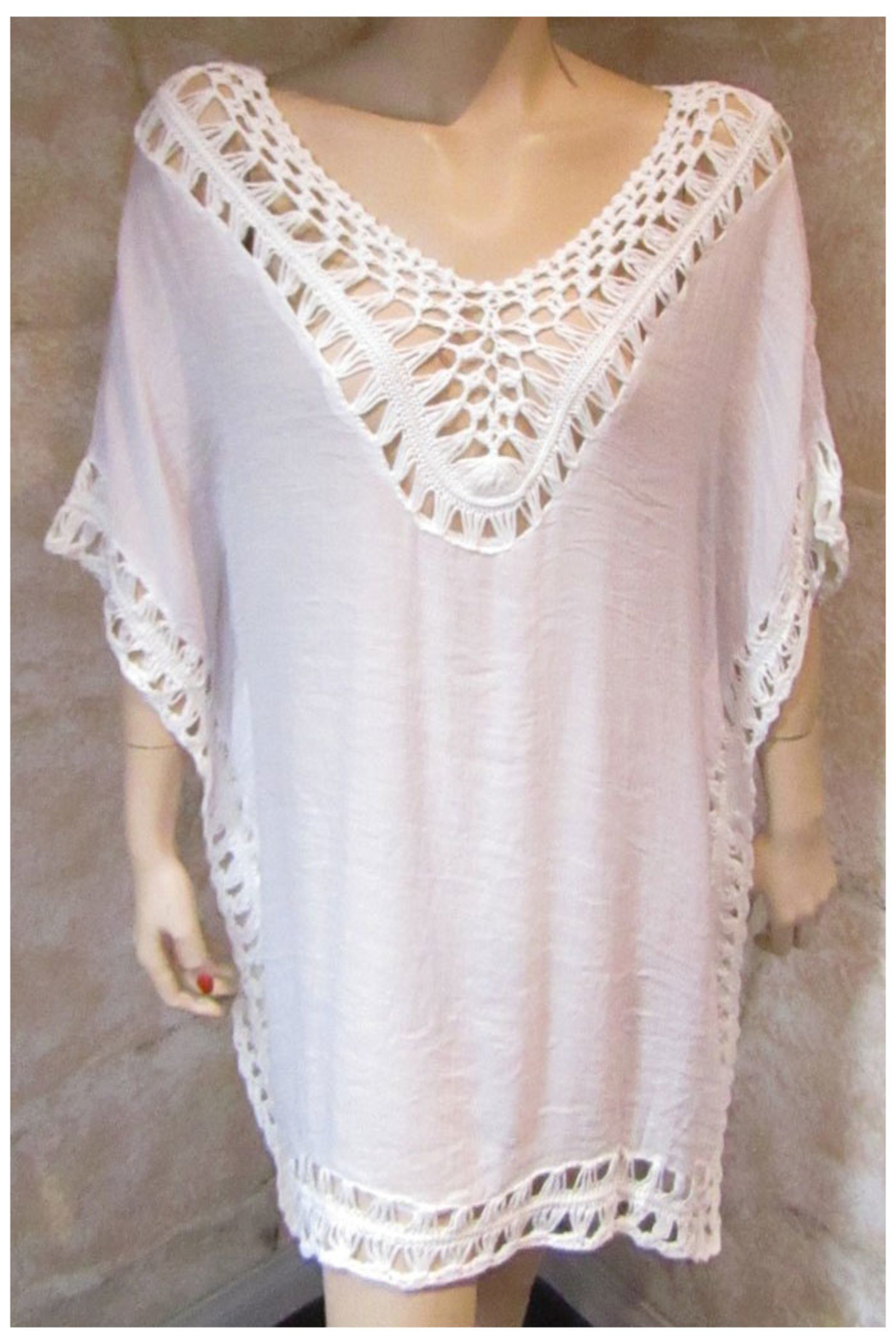 India Boutique White Crochet Trimmed Poncho - Main Image