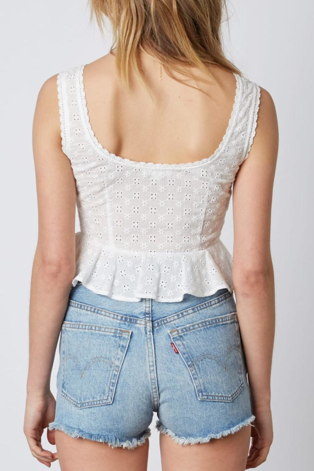 Cotton Candy LA White Crop Top - Front Full Image