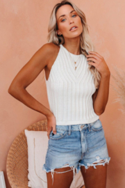The Emerald Fox Boutique White Cropped Ribbed Halter Tank - Product Mini Image