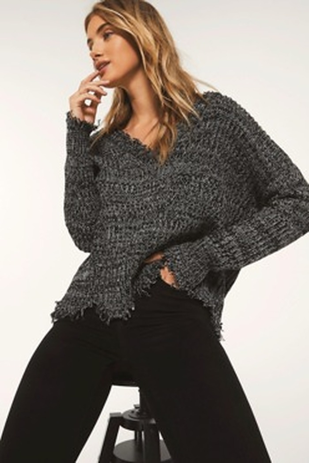 z supply White Crow Buenavista Sweater - Heather Black - Front Cropped Image