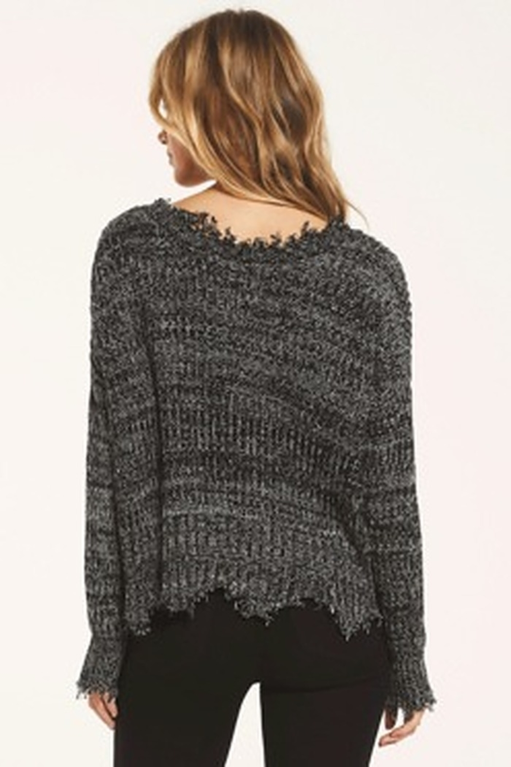 z supply White Crow Buenavista Sweater - Heather Black - Front Full Image