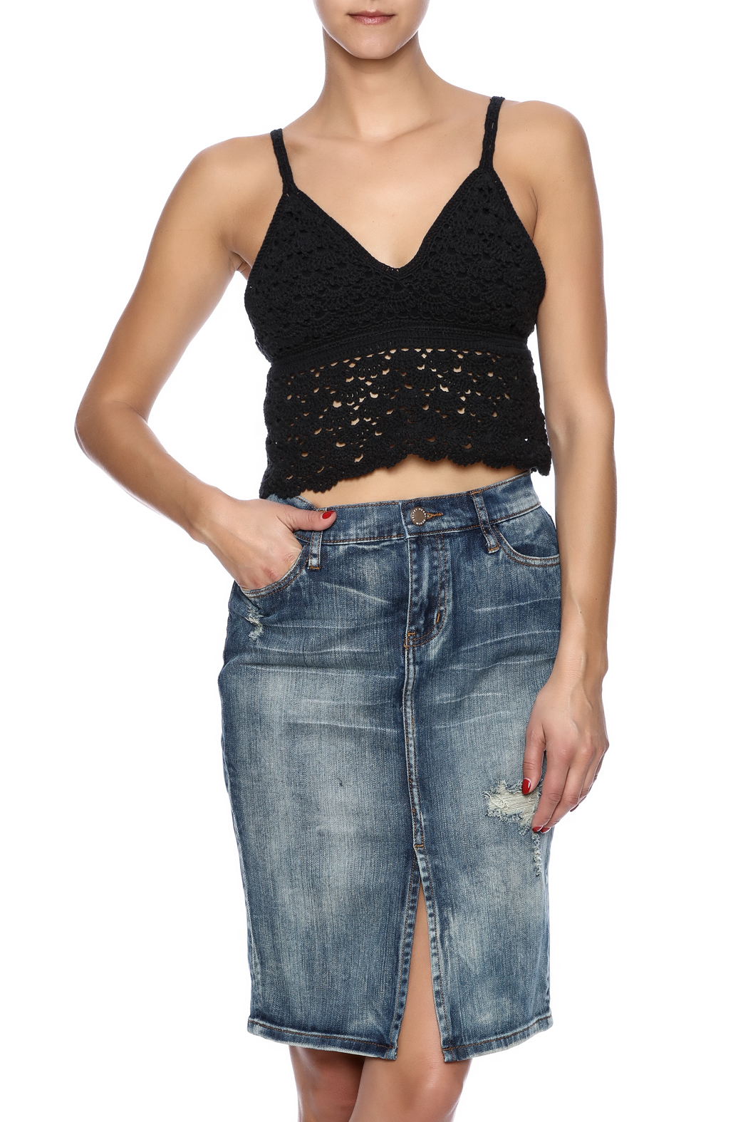 White Crow Crochet Crop Top - Front Cropped Image