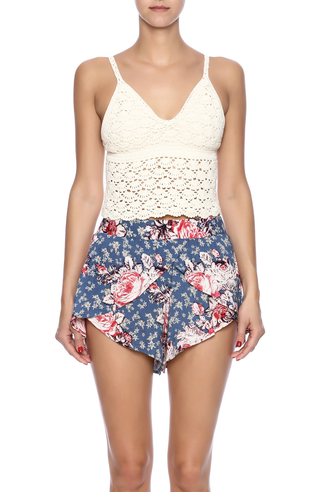 White Crow Crochet Crop Top - Side Cropped Image