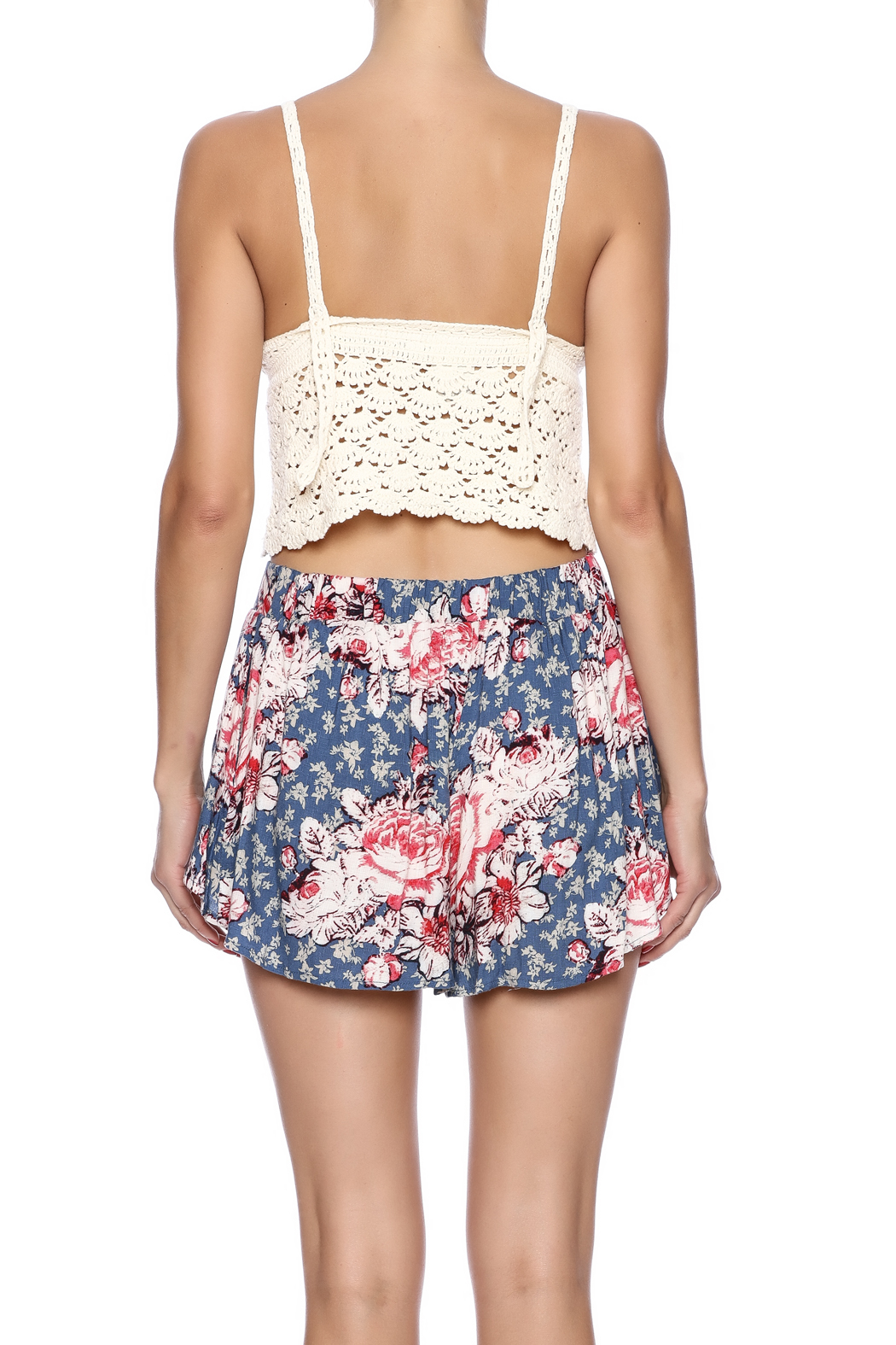 White Crow Crochet Crop Top - Back Cropped Image