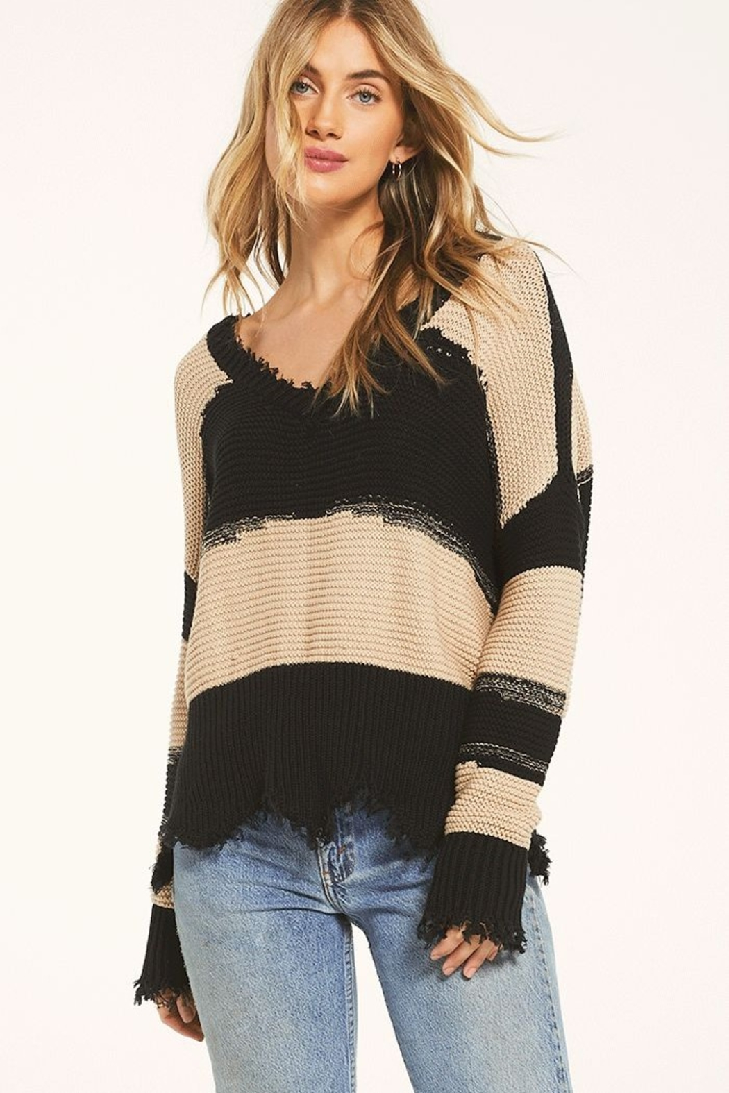 z supply White Crow Hope Sweater Tan - Front Cropped Image