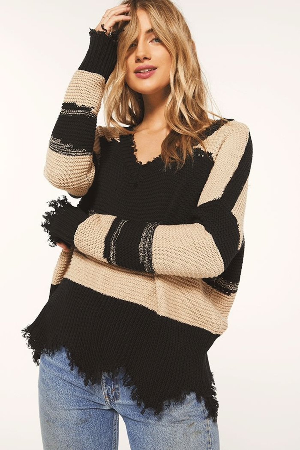 z supply White Crow Hope Sweater Tan - Side Cropped Image
