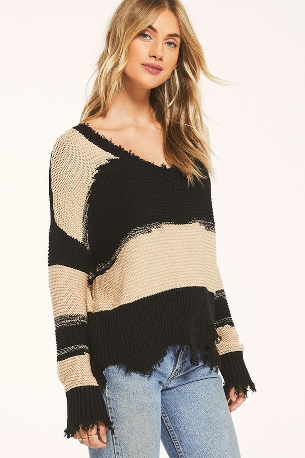 z supply White Crow Hope Sweater Tan - Back Cropped Image
