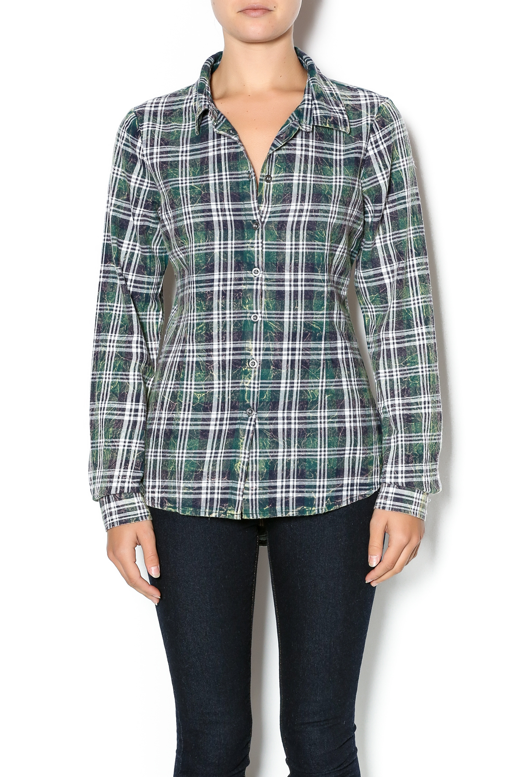 White Crow Olive Night Plaid Top From Austin By Sage