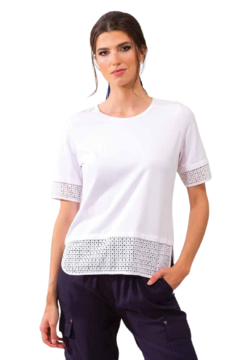 Alison Sheri White Cut Work Tee - Product List Image