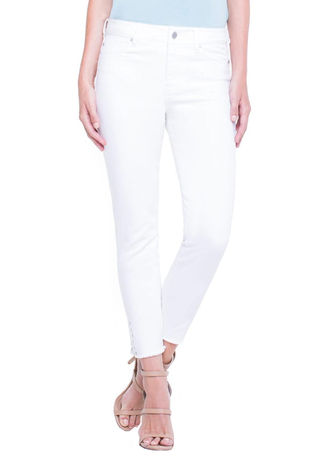 Liverpool White Denim Ankle-pant - Front Full Image