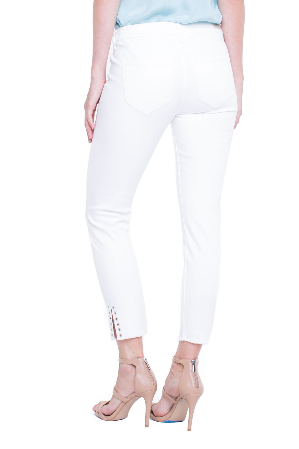 Liverpool White Denim Ankle-pant - Side Cropped Image