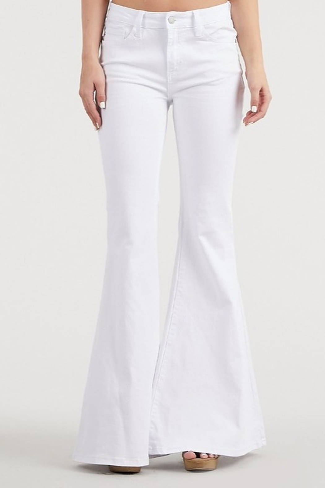 Judy Blue White Denim Bell-Bottoms - Front Cropped Image