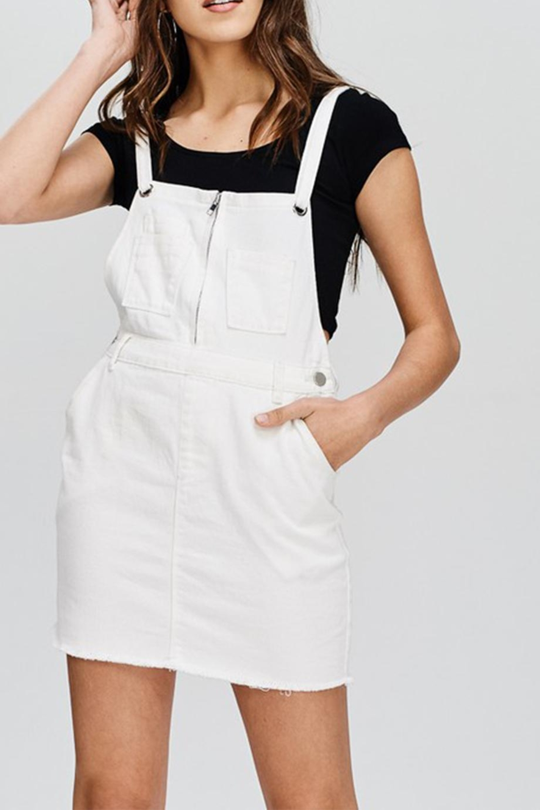 Emory Park White Denim Overall - Front Cropped Image