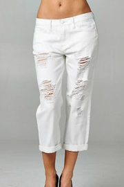 Imagine That White Distressed Capris - Product Mini Image