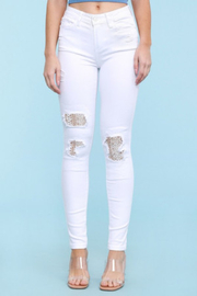 Judy Blue White Distressed Lace Skinny - Product Mini Image