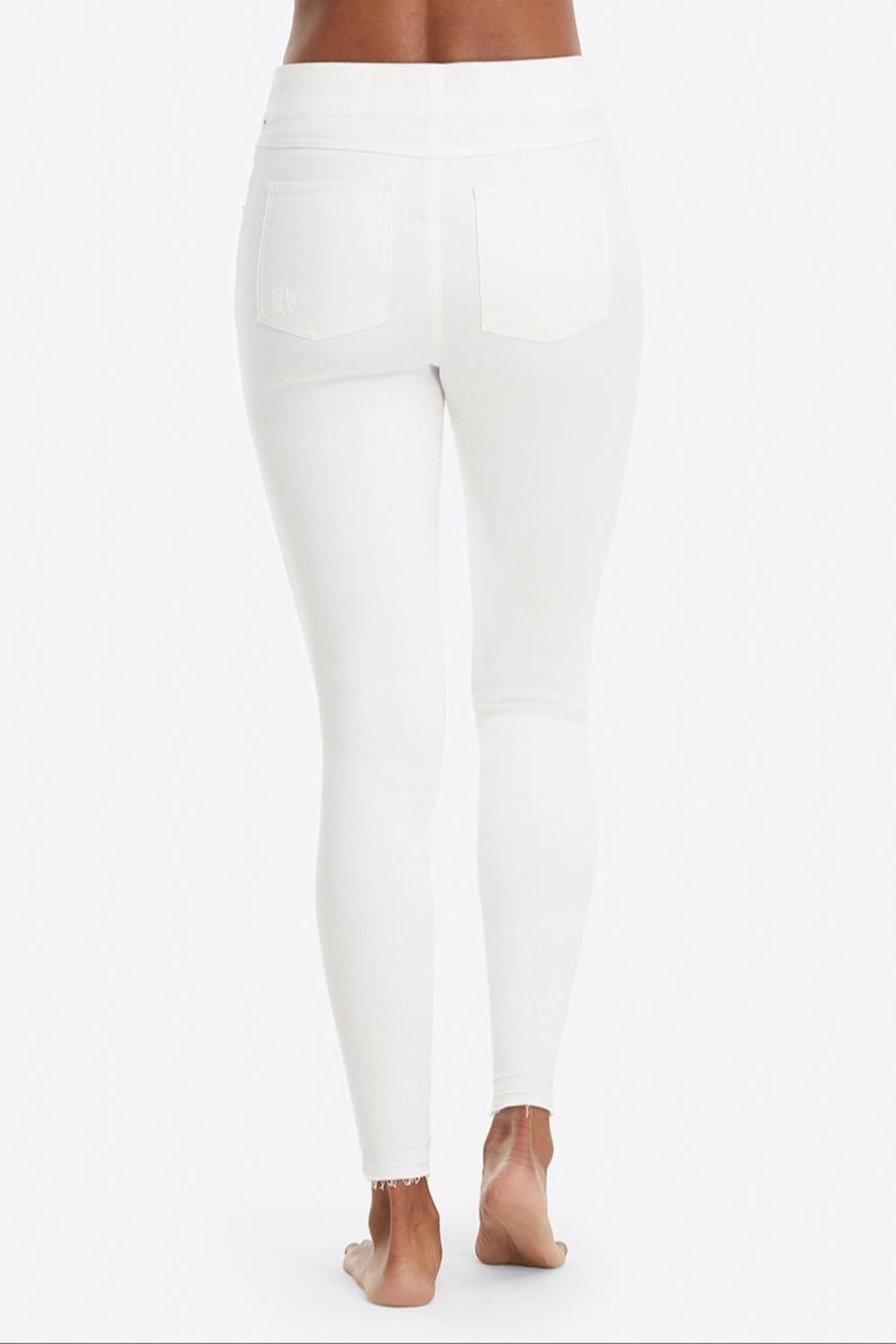 Spanx White-Distressed Skinny Jeans - Side Cropped Image