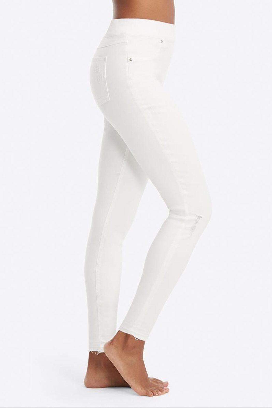 Spanx White-Distressed Skinny Jeans - Front Full Image