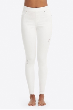 Spanx White-Distressed Skinny Jeans - Product List Image