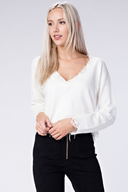 Honey Punch White Distressed Sweater - Product Mini Image
