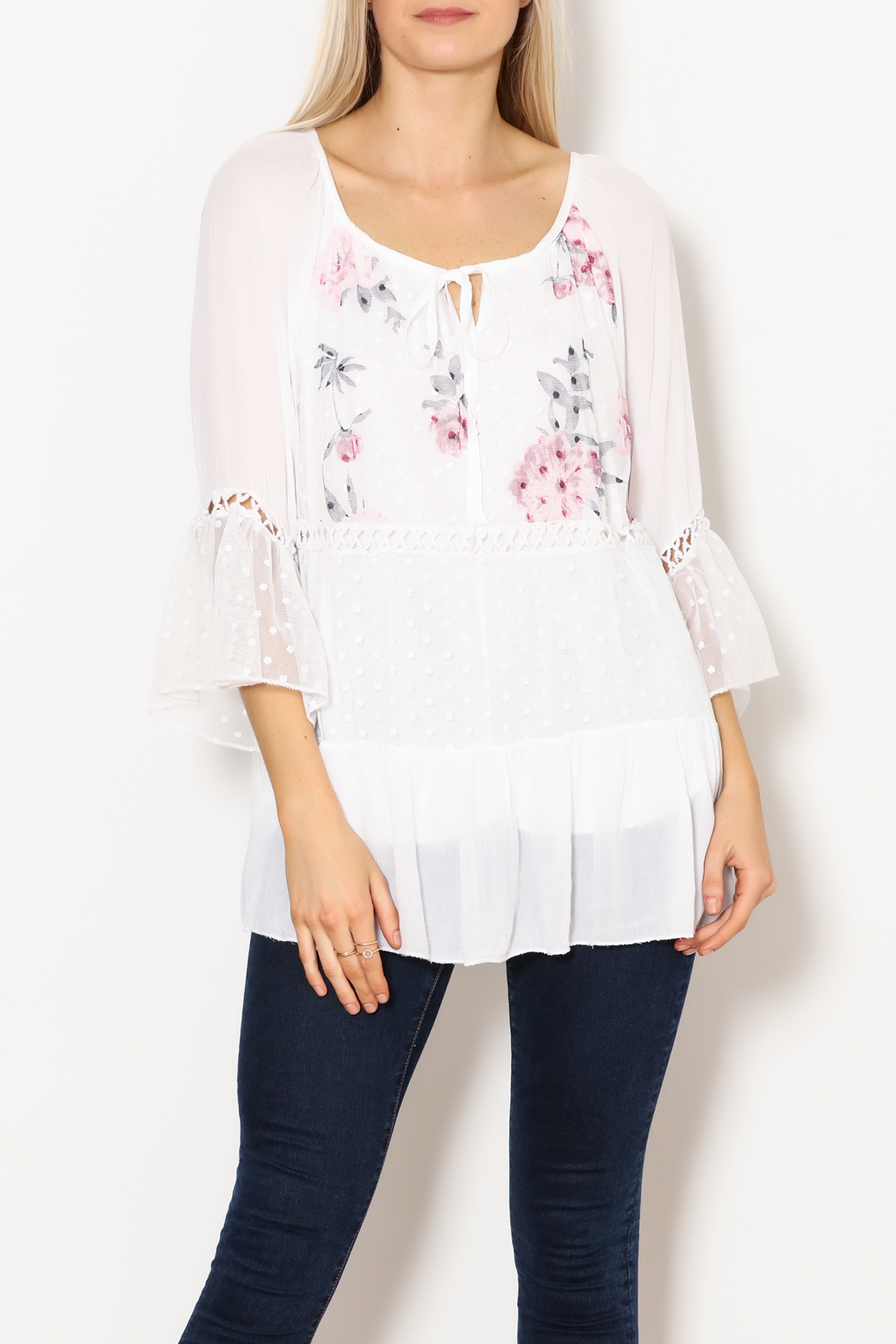 Bella Amore White Dot With Floral Italian Top - Front Full Image