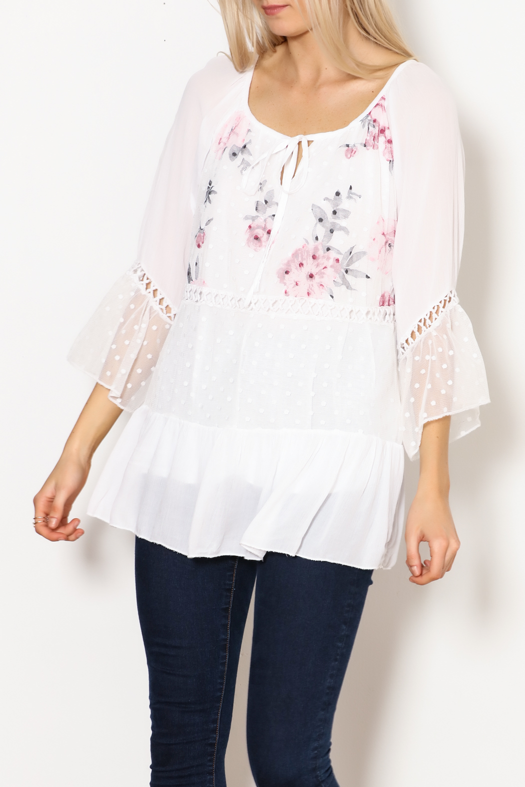 Bella Amore White Dot With Floral Italian Top - Main Image