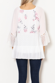 Bella Amore White Dot With Floral Italian Top - Back cropped