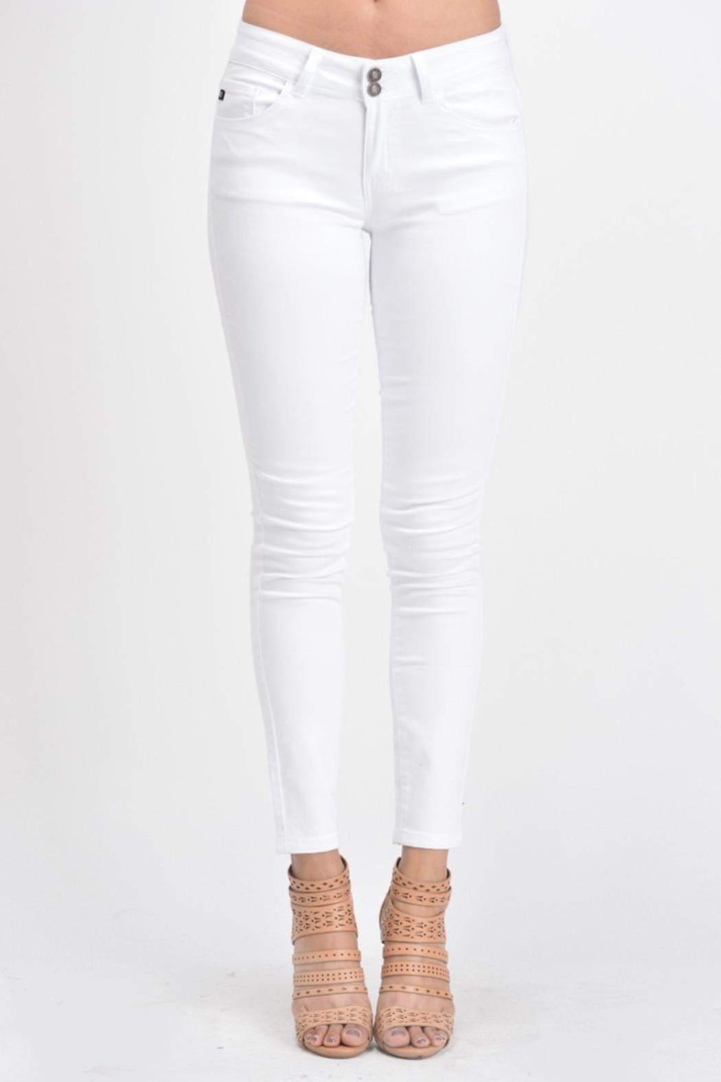 KanCan White Double-Button Denim - Front Cropped Image