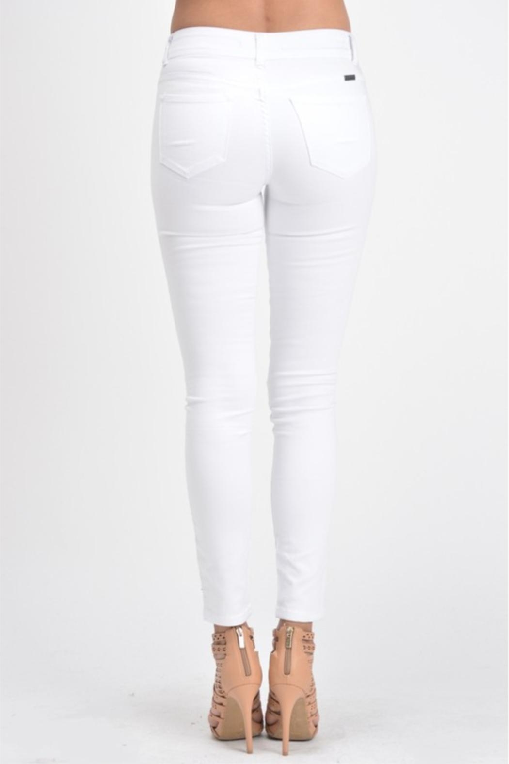 KanCan White Double-Button Denim - Back Cropped Image