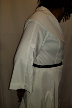 Samuel Dong White Dress with Large Off the Shoulder Collar - Alternate List Image