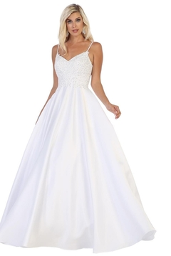 Shoptiques Product: White Embellished Lace Bridal Ball Gown