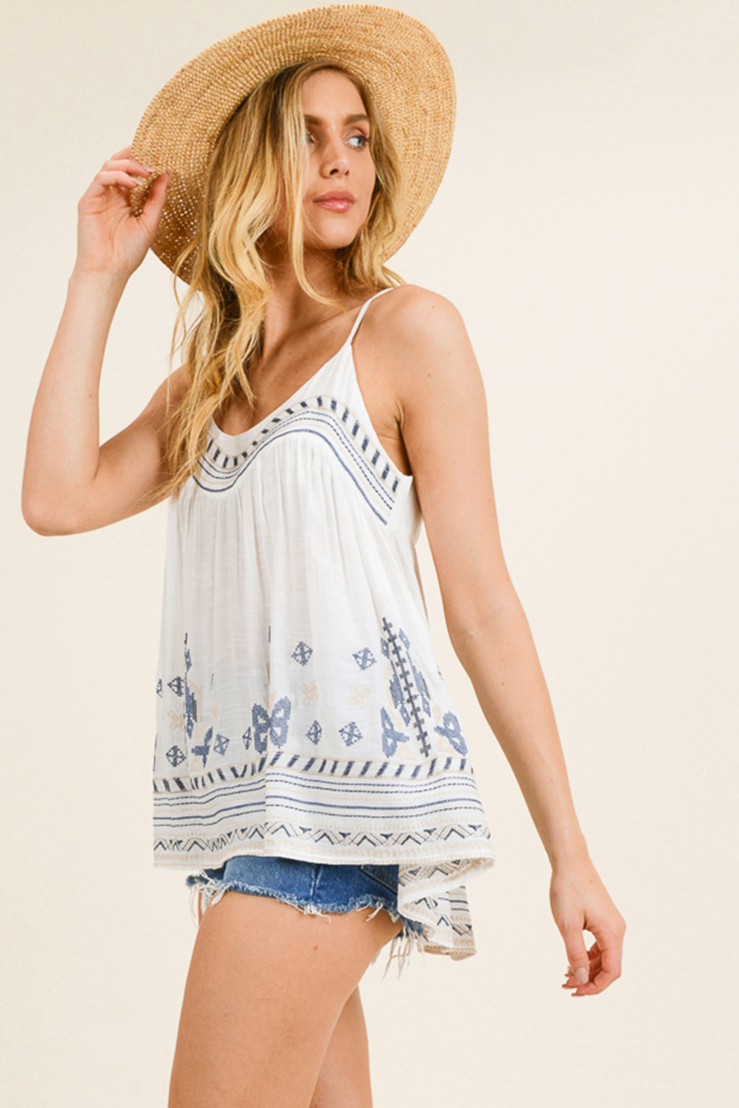 MONTREZ White embroidered peasant tank top - Front Full Image