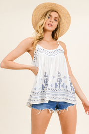 MONTREZ White embroidered peasant tank top - Front cropped