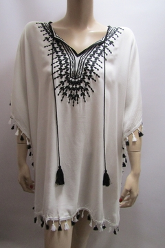 Shoptiques Product: EMBROIDERED FRINGED PONCHO
