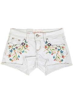Grace in L.A. White Embroidery Shorts - Product List Image