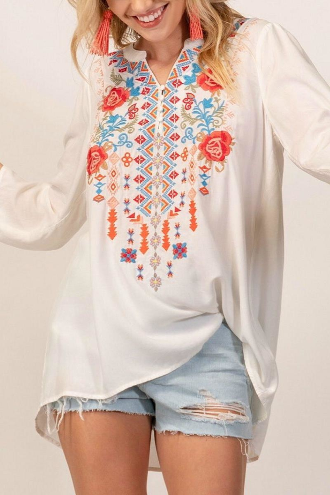 Andree by Unit White Embroidery Top - Main Image
