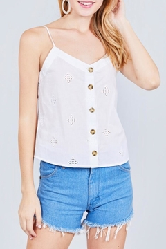 Active Basic White Eyelet Cami - Product List Image