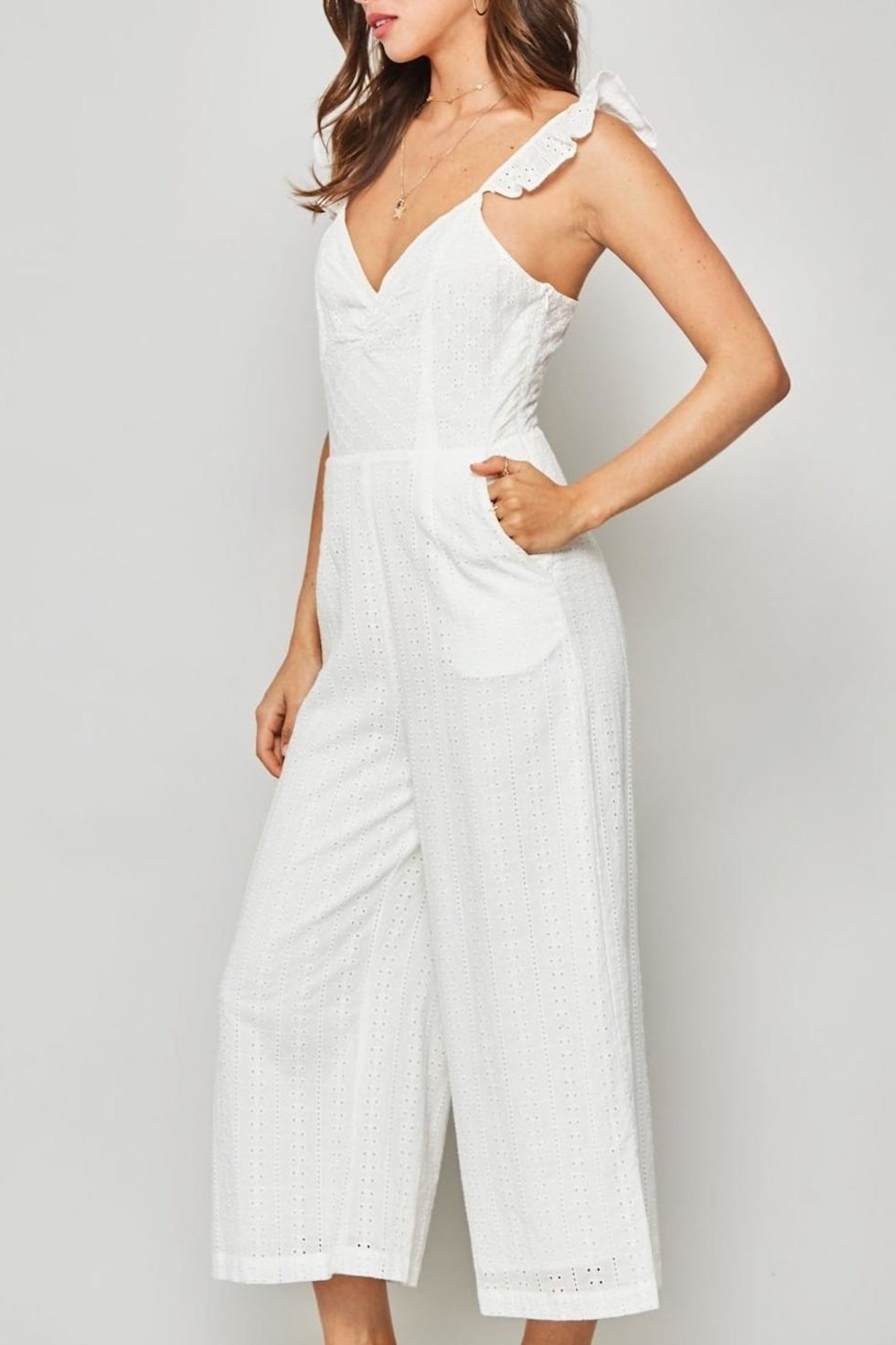 Promesa USA White Eyelet Jumpsuit - Side Cropped Image