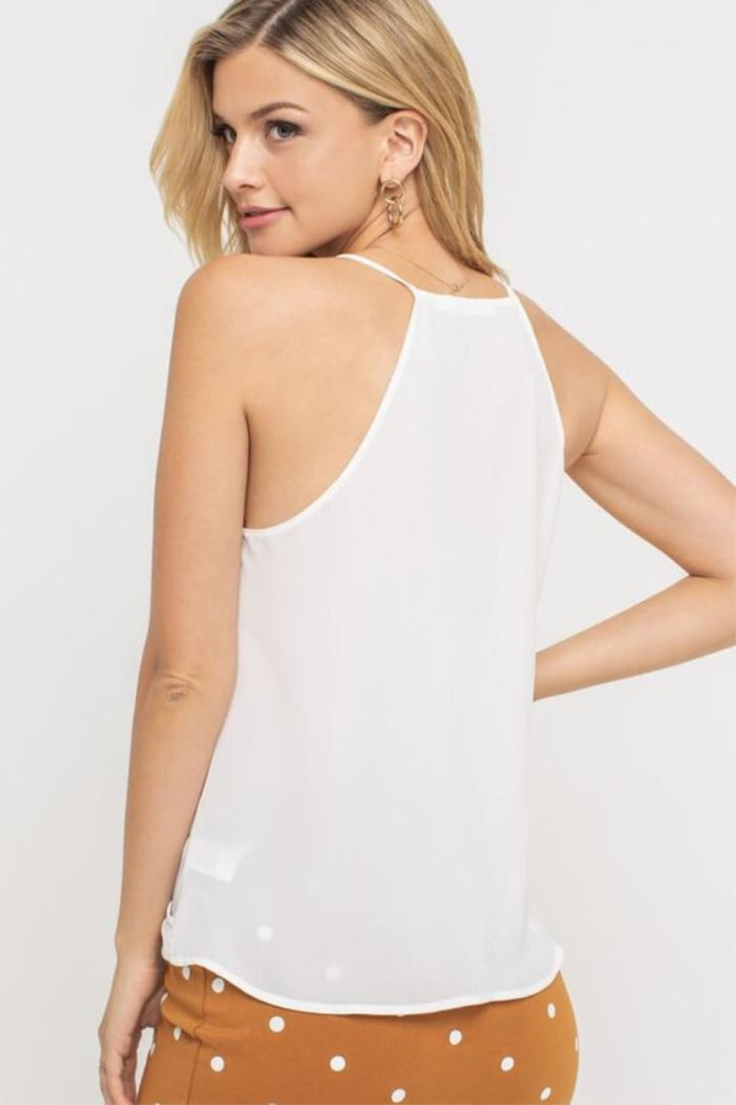 Lush White Faux-Wrap Camisole - Side Cropped Image