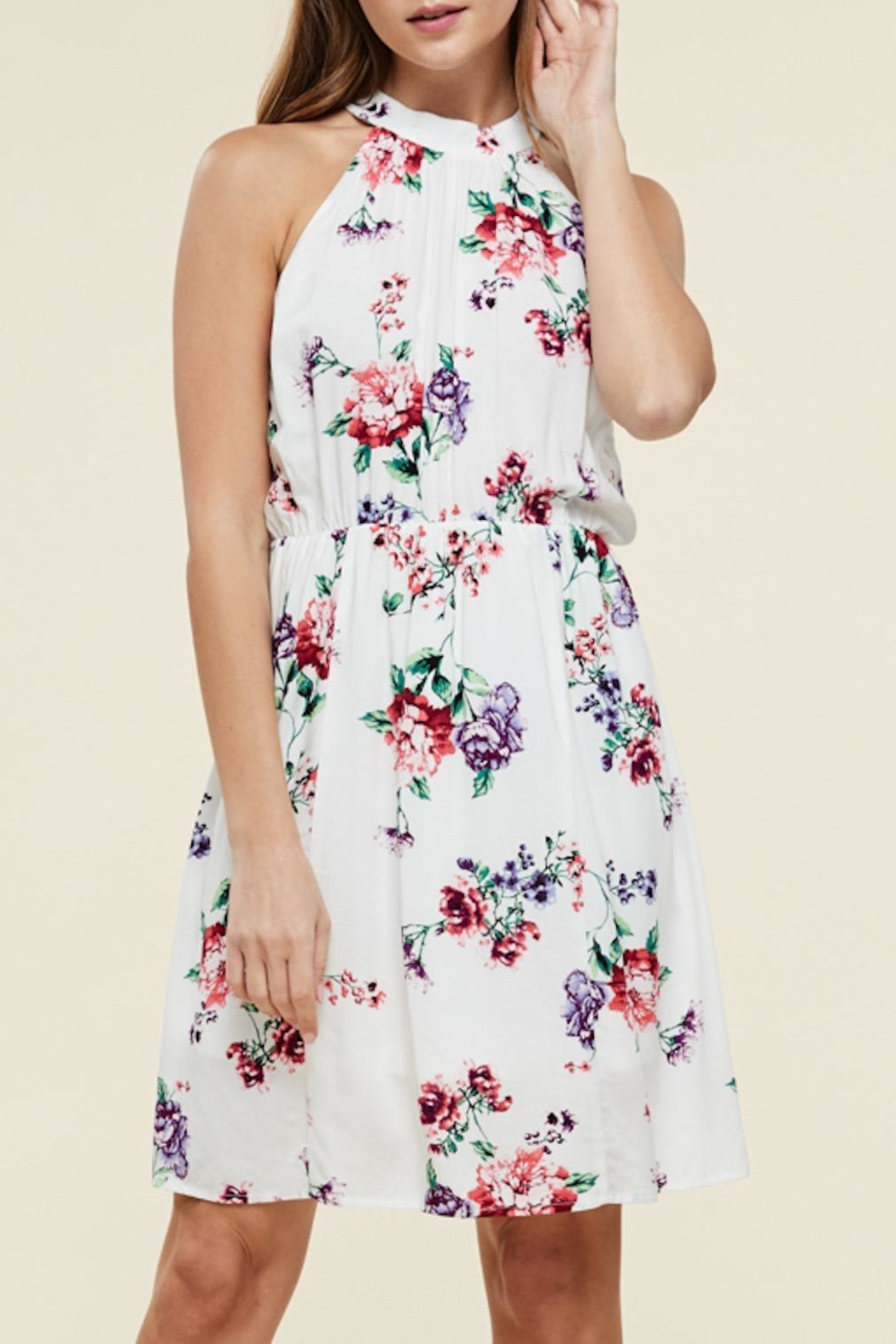Apricot Lane White Floral Dress - Front Cropped Image
